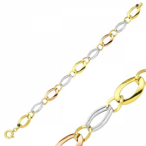 SembolGold - 14 Ayar Altın Bileklik Hallow Oval Halka Tasarım SG42-57495