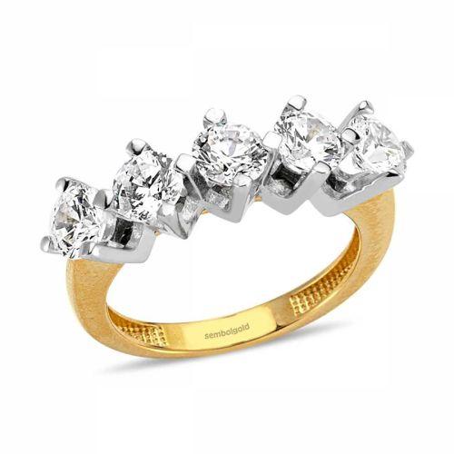 SembolGold - Altın 5 Taş Yüzük 4.50 Gr SG42-7834550