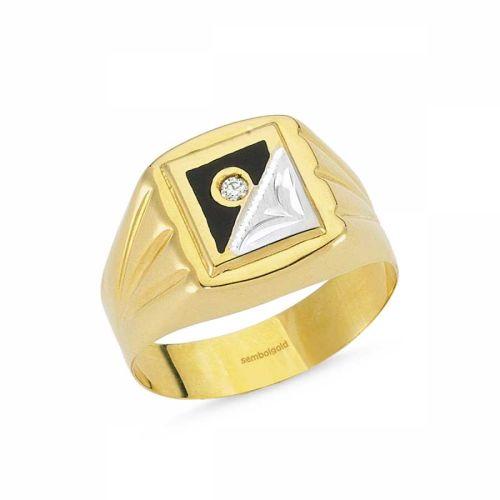 SembolGold - 14 Ayar Altın Bay Yüzük Siyah Mineli SGB-84380