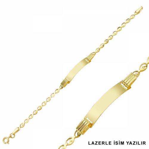 SembolGold - Altın Çocuk Bileklik Lazerle İsim Yazılır SG42-6577