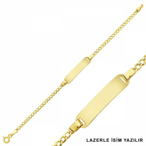 SembolGold - Altın Çocuk Bileklik Lazerle İsim Yazılır SG42-6582