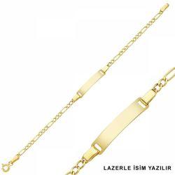 SembolGold - Altın Çocuk Bileklik Lazerle İsim Yazılır SG42-6583