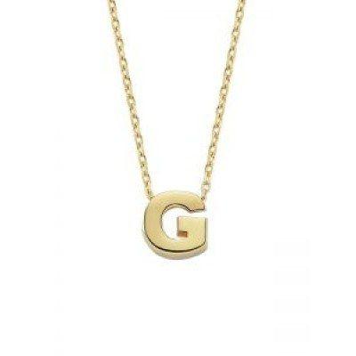 SembolGold - Altın G Harfli Taşsız Kolye