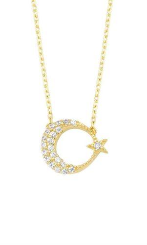 SembolGold - Altın Kolye Ayyıldız Taşlı