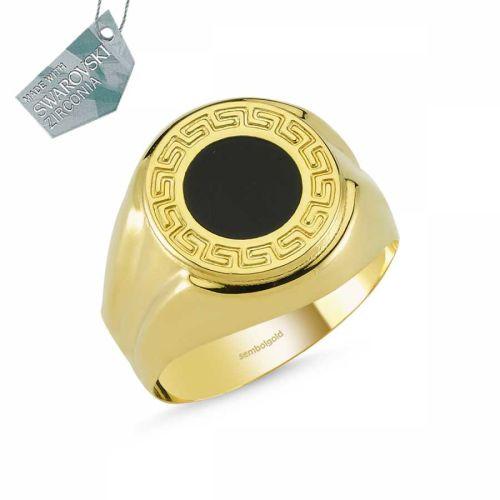SembolGold - Altın Versace Mineli Erkek Yüzük