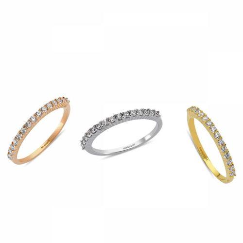 SembolGold - Yarımtur Altın Yüzük Modelleri 14 Ayar (Rose-Beyaz-Sarı)