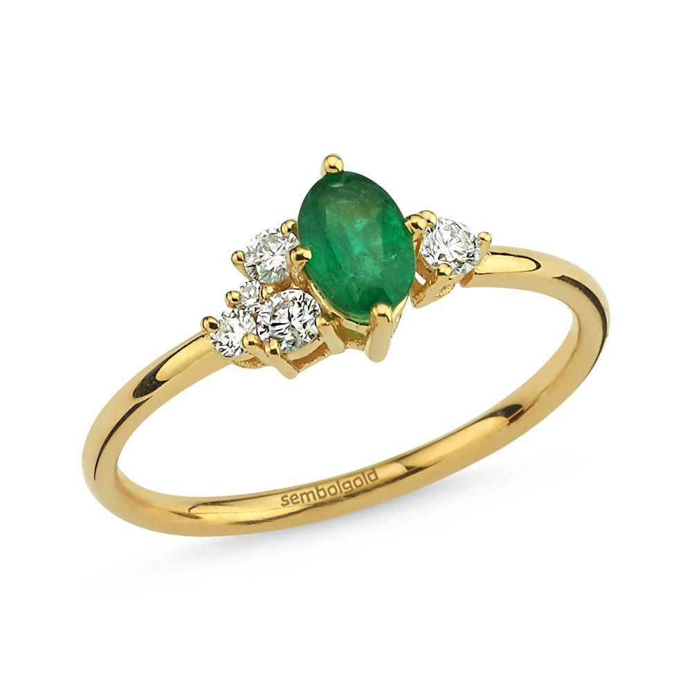 0.59 Karat Pırlanta Emerald Yüzük G - SI 14 Ayar Sarı Altın