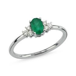 SembolGold - 0.59 Karat Pırlanta Emerald Yüzük G-SI Beyaz Altın