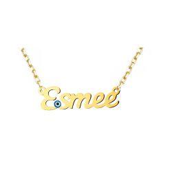 SembolGold - 14 Ayar Altın İsimli Kolye Nazarlı 3,00 Gram