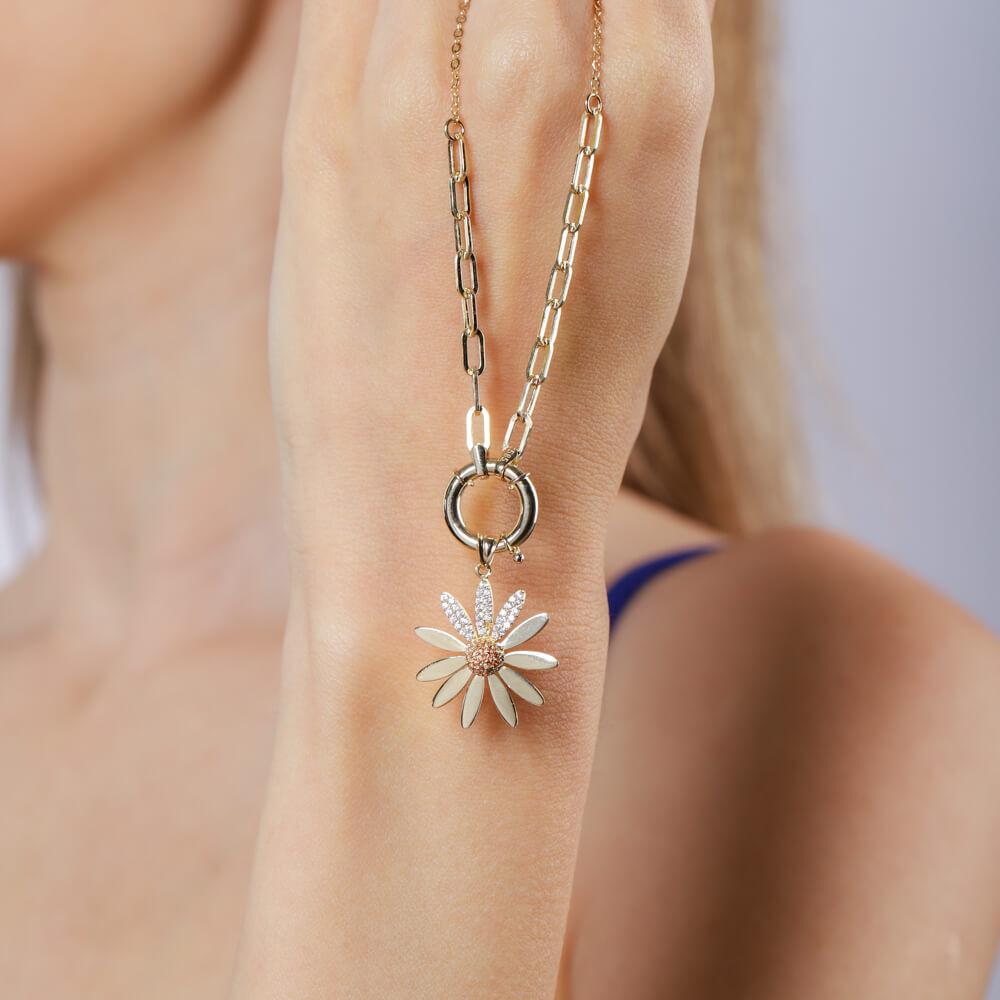 14 Ayar Altın Kolye Çiçek Tasarım Madalyon