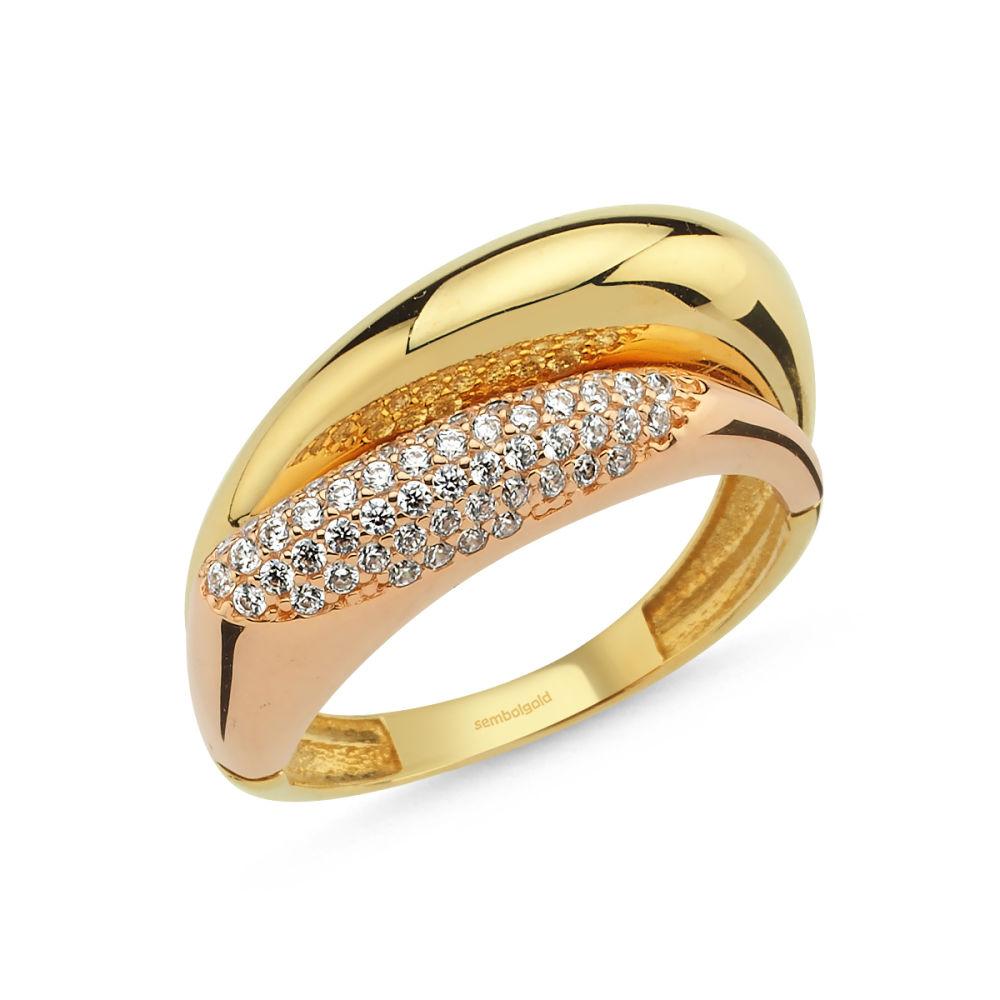 14 Ayar Altın Yüzük Rayna Tasarım Rose ve Sarı Gold
