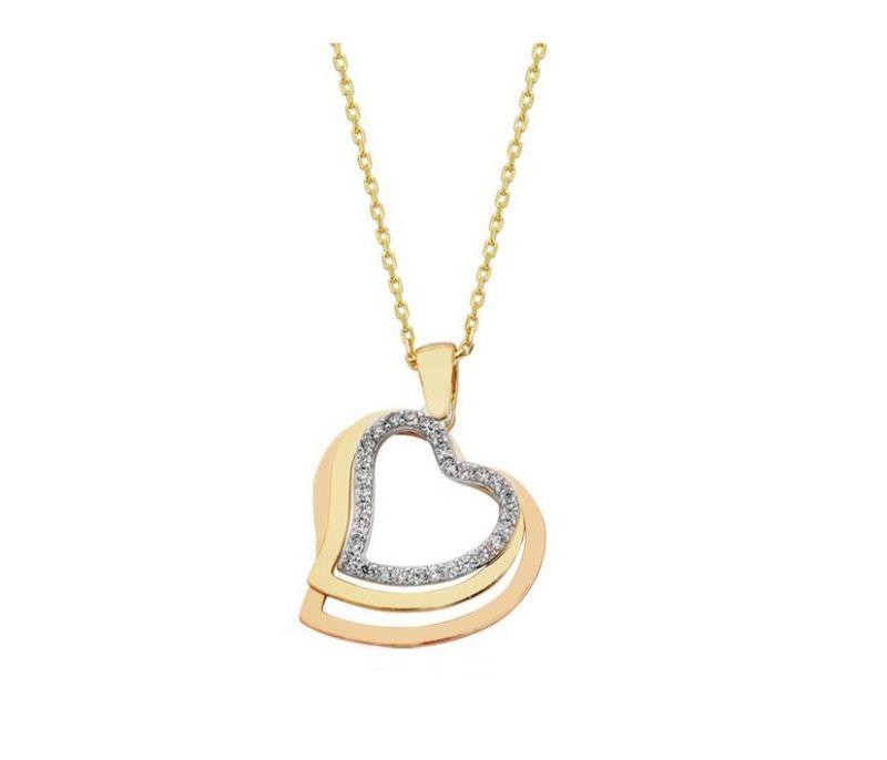 Altın 3'lü Kalp Kolyesi TriaColor