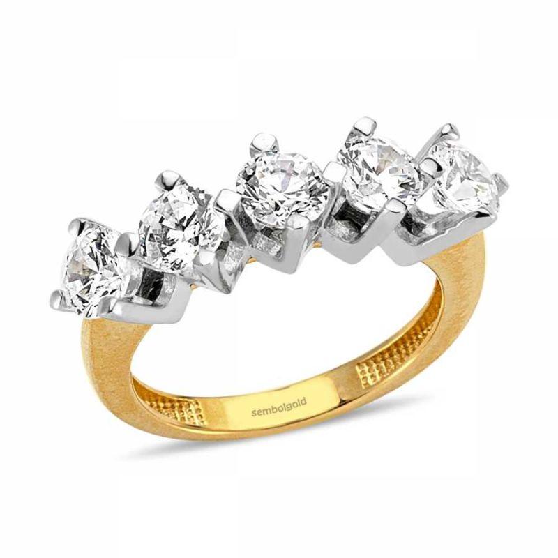 Altın 5 Taş Yüzük 4.50 Gr SG42-7834550