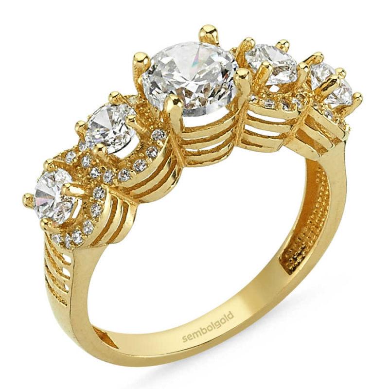 Altın 5 Taş Yüzük Swarovski Taşlı SG42-783449