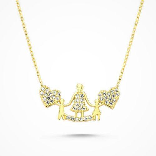 SembolGold - Altın Anne ve Çocuklar Kolye KLB-039711