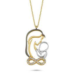 SembolGold - Altın Anne&Bebek Kolye Sonsuzluk Tasarım KLB-0371