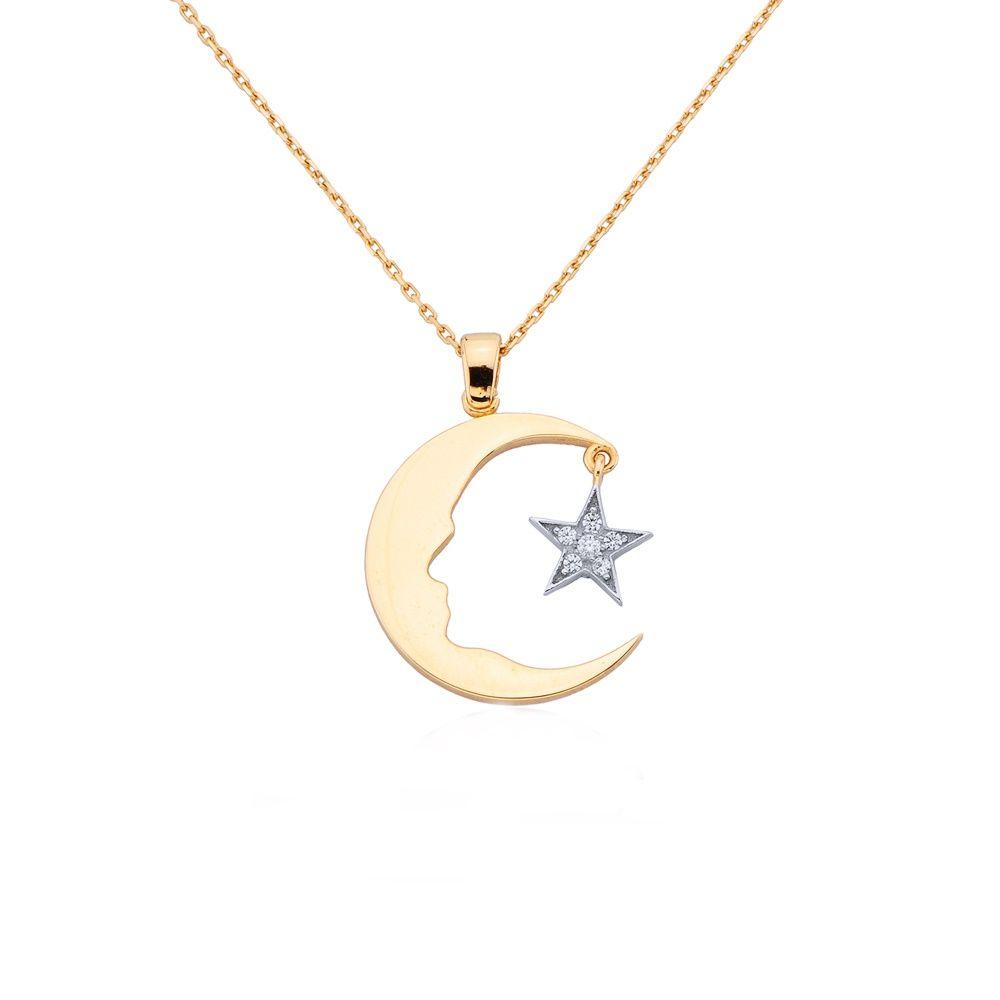 Altın Atatürk Kolye Ay Yıldızlı (Rose & Beyaz)