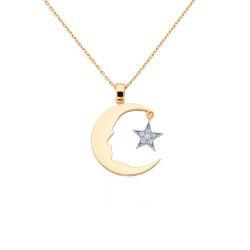 Altın Atatürk Kolye Ay Yıldızlı (Rose & Beyaz) - Thumbnail