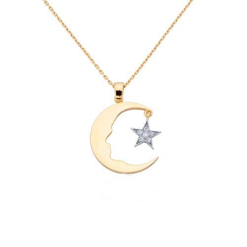 SembolGold - Altın Atatürk Kolye Ay Yıldızlı (Rose & Beyaz)