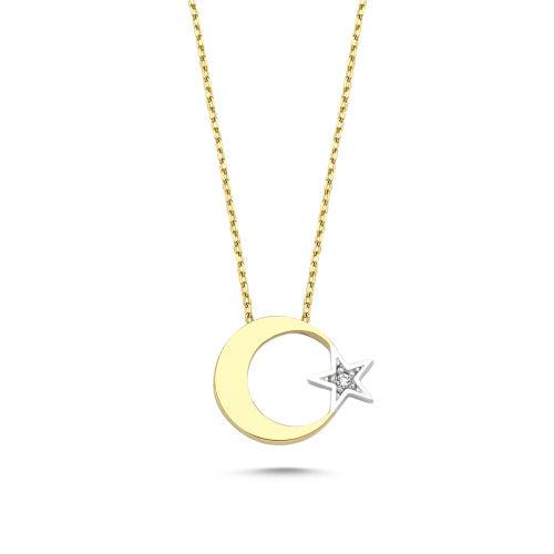 SembolGold - Altın Ayyıldız 1.20 cm Kolye CH08651-543