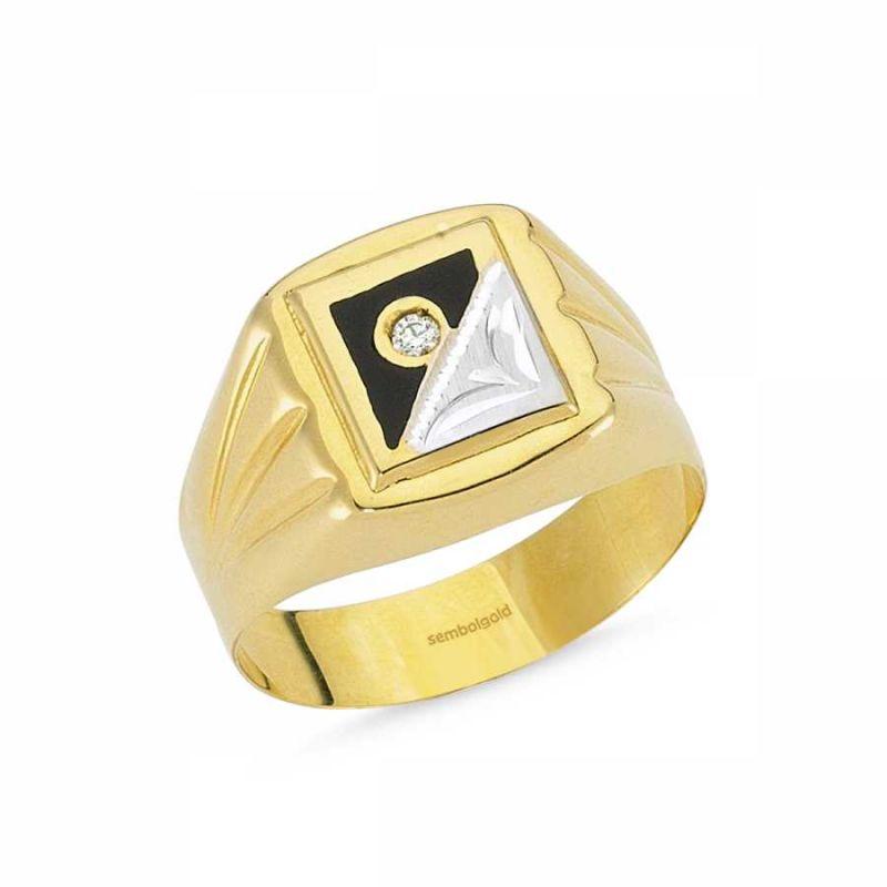 14 Ayar Altın Bay Yüzük Siyah Mineli SGB-84380