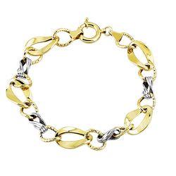 SembolGold - Altın Bileklik Hallow Tasarım 14K Sarı Beyaz