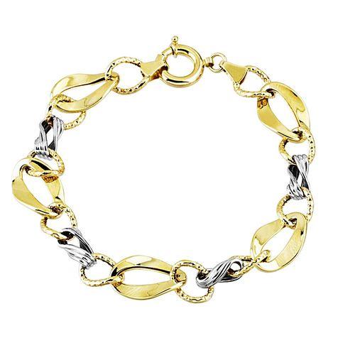 SembolGold - Altın Bileklik Hallow Tasarım 14K Sarı Beyaz 5,60 Gram