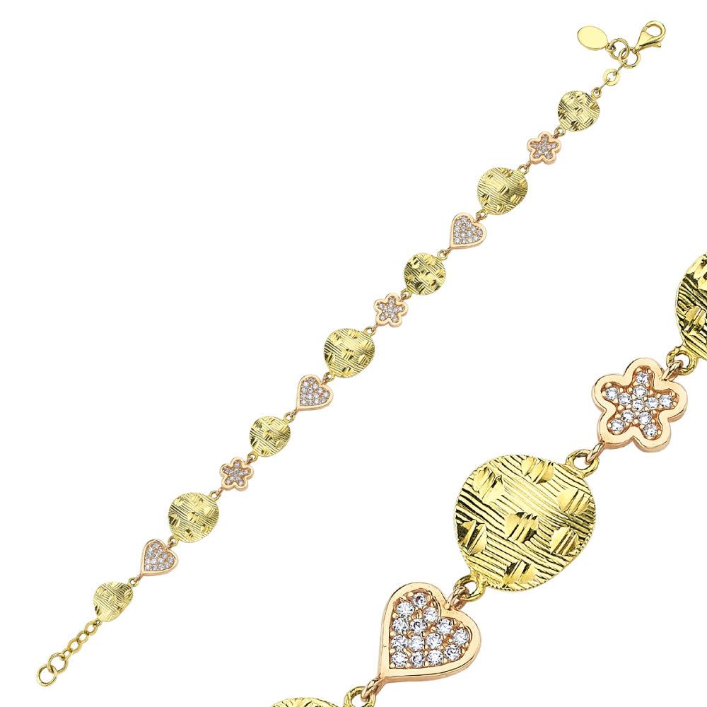 Altın Bileklik Pullu Kalp'li ve Papatya BLK52-5625