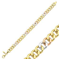 SembolGold - Altın Bileklik TriColor Tasarım 20 cm 04615406