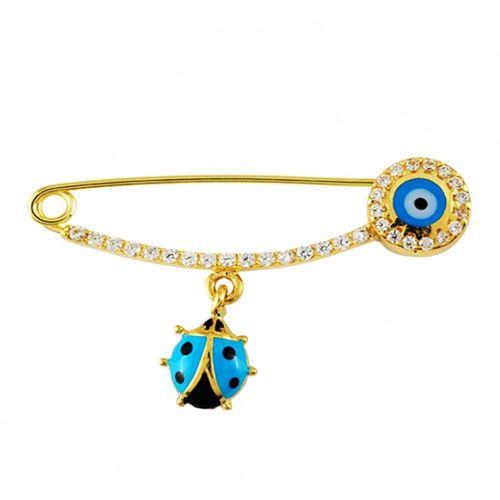 SembolGold - Altın Çengel İğne Uğur Böcekli Mavi Mineli Bayan