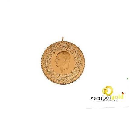 Altın Çeyrekli Kolye Taşlı Damla Model