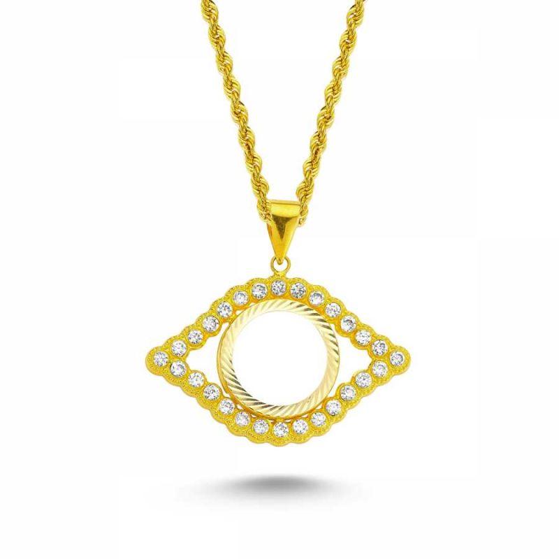 Altın Çeyrekli Kolye Taşlı Göz Model