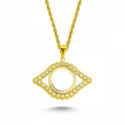 SembolGold - Altın Çeyrekli Kolye Taşlı Göz Model