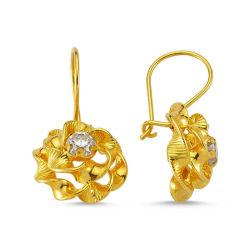 SembolGold - Altın Çiçek Sallantılı Küpe