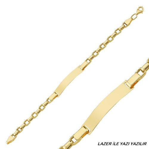 SembolGold - Altın Çocuk Bileklik 14 Ayar Lazerle İsim Yazılır SG42-6593
