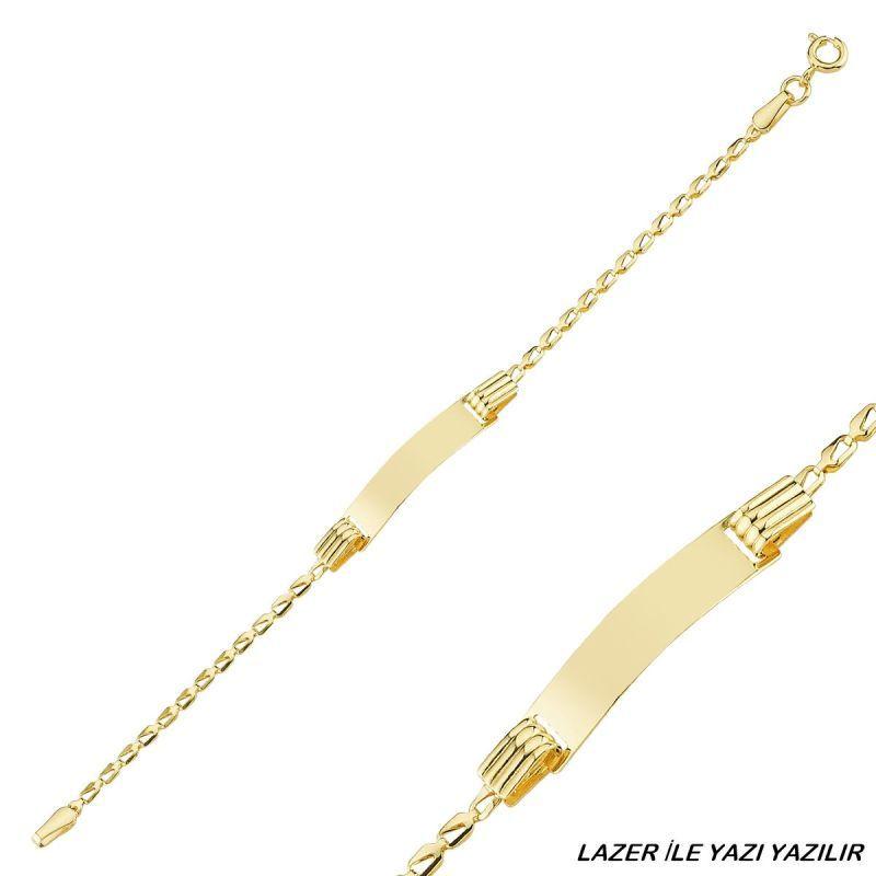 Altın Çocuk Bileklik 14 Ayar Lazerle İsim Yazılır SG42-6601