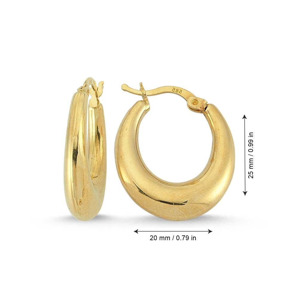 Altın Damla Halka Küpe 2.0 cm 14 Ayar