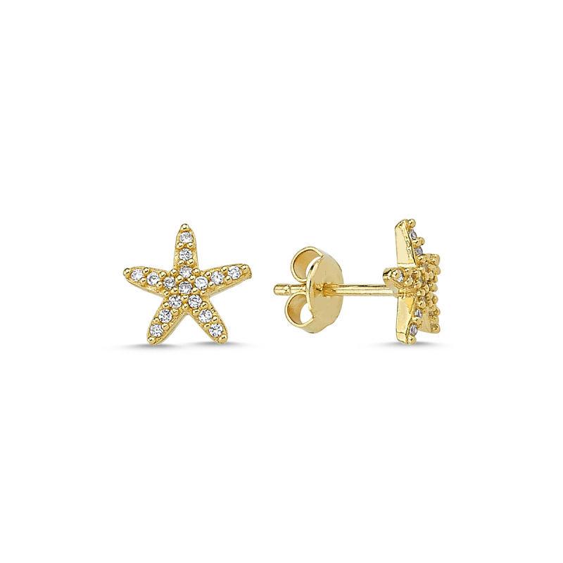Altın Deniz Yıldızı Küpe İğne Tasarım KPY-210