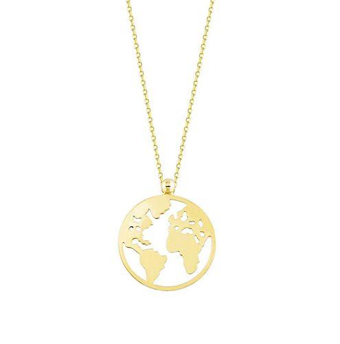 SembolGold - Altın Dünya Kolye 14K Gold
