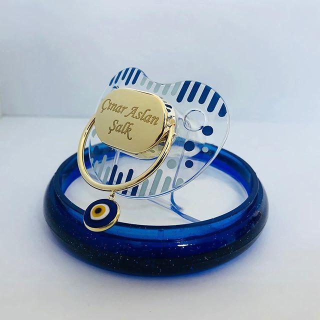 Altın Emzik Mavi Nazar Boncuklu Erkek Modeli EM-512