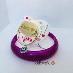 SembolGold - Altın Emzik Nazar Boncuklu Kalp'li Tasarım EM-509