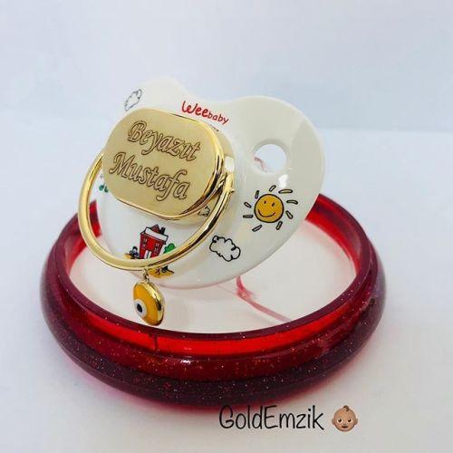 SembolGold - Altın Emzik Sarı Nazar Boncuklu Unixes Model EM-511