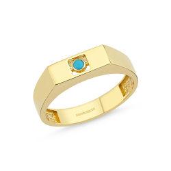 Altın Firuze Yüzük Şövalye 14K FR161572 - Thumbnail