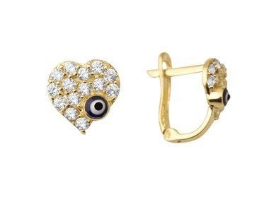 Altın Gözlü Çocuk Küpesi Taşlı Kalpli Model