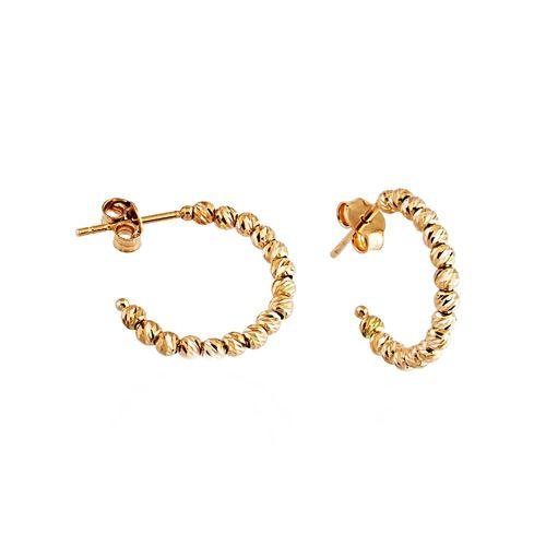 SembolGold - Altın Halka Küpe Dorikalı 14K Gold Üç Renk
