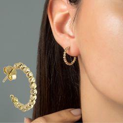 Altın Halka Küpe Dorikalı 14K Gold Üç Renk - Thumbnail