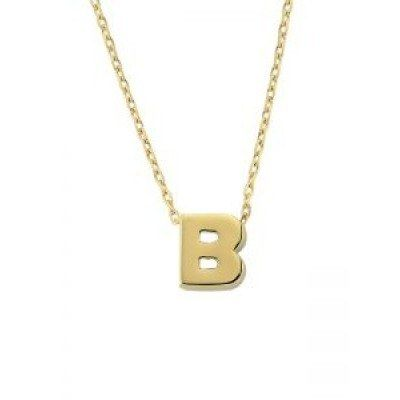 SembolGold - Altın B Harfli Taşsız Kolye