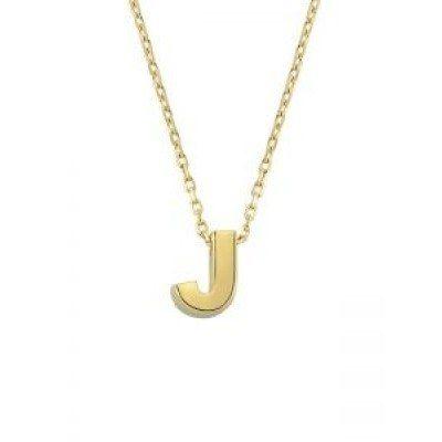 SembolGold - Altın J Harfli Taşsız Kolye