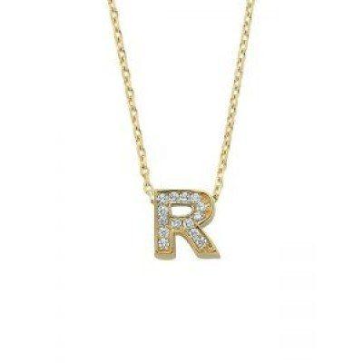 Altın R Harfli Taşlı Kolye