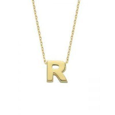 SembolGold - Altın R Harfli Taşsız Kolye